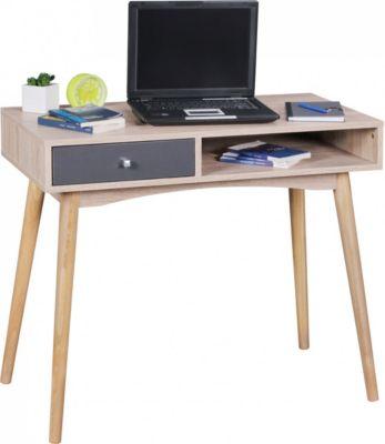 Wohnling WOHNLING Schreibtisch SAMO 90 x 78 x 45 cm mit Schublade in Sonoma Eiche | Computertisch im