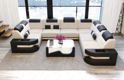 Sofa Dreams Stoff Wohnlandschaft COMO U LED