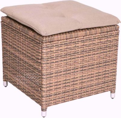 famous home rattan hocker braun mit kissen. Black Bedroom Furniture Sets. Home Design Ideas
