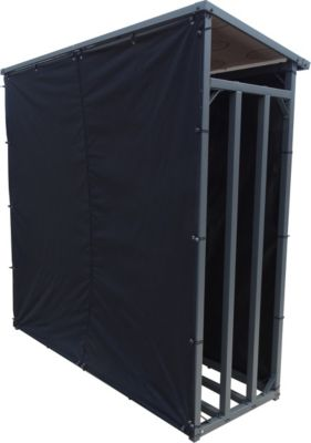 Grasekamp Wetterschutz Rückwand zu Kaminholzunterstand XL 200x70x203cm PVC Schwarz
