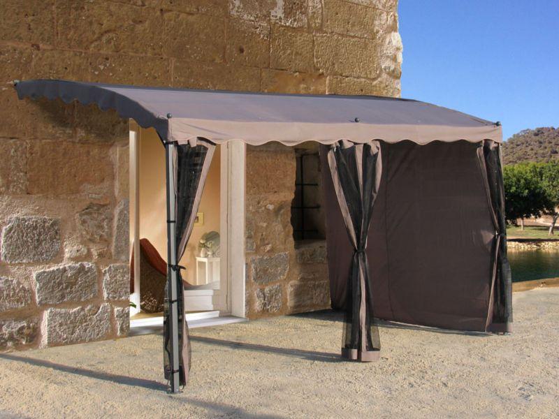 Grasekamp Anbau-Pergola Mallorca 400x300cm Taup...