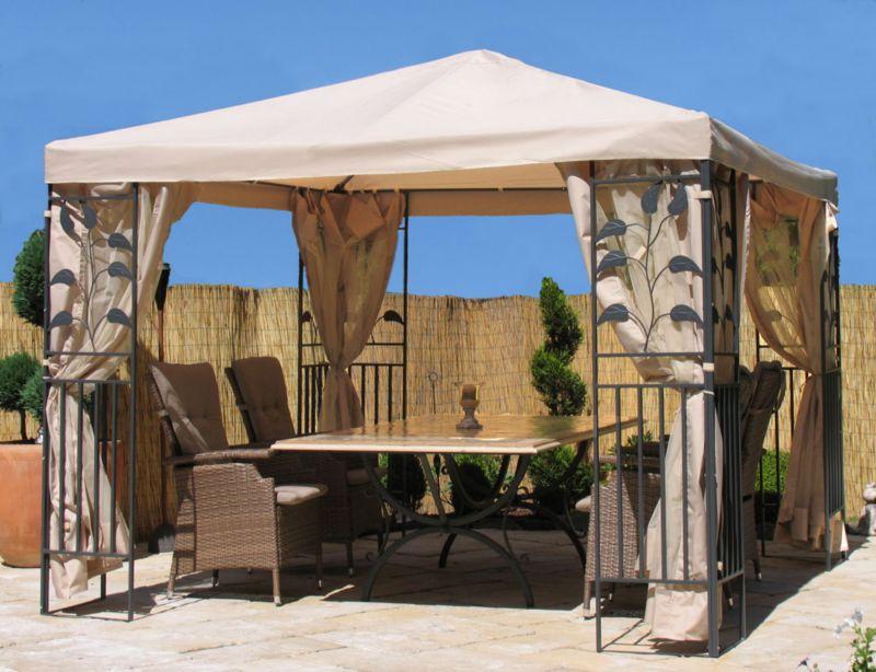 Grasekamp Garten-Pavillon Blätter 3x3m Sand mit...