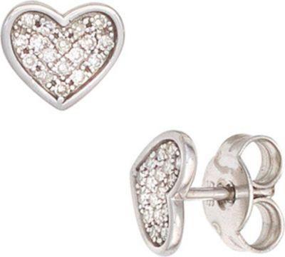 Jobo Ohrstecker Herz Herzen 585 Gold Weißgold 34 Diamanten 0,14ct. Ohrringe