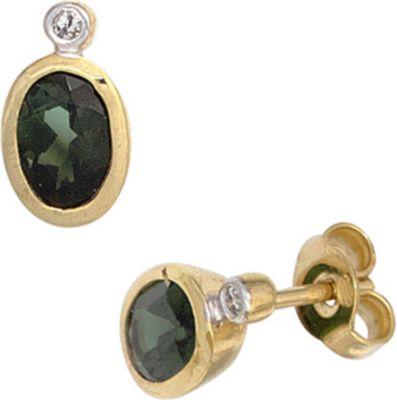 Jobo Ohrstecker oval 585 Gold Gelbgold 2 Turmaline grün 2 Diamanten Ohrringe