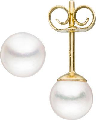 Jobo Ohrstecker 333 Gold Gelbgold 2 Akoya Perlen Ohrringe Perlenohrstecker