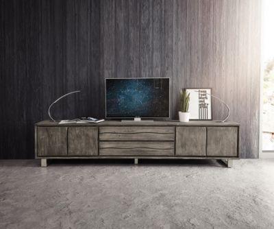 Fernsehtisch Live-Edge Akazie Platin 300 cm 4 Türen 2 Schübe Baumkante Lowboard