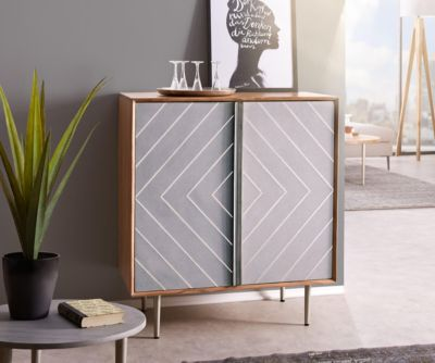 Kommode Metropolitan Akazie Natur 88 cm 2 Türen filigran Beton Edelstahl Sideboard