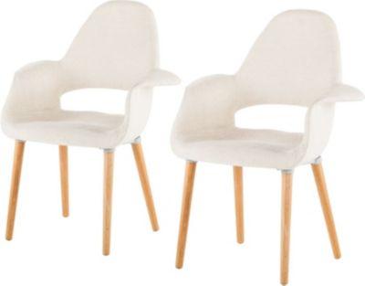 2x Armlehnenstuhl beige Stuhl Sessel Esszimmer Küche Polstersessel Polsterstuhl Stoff