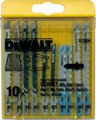 10x DeWalt Holz Stichsägeblatt DT2294 Laminat Metall Sägeblätter Set Werkzeug