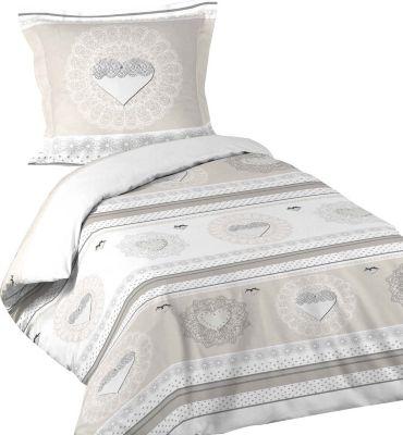 2tlg. Landhaus Bettwäsche 140x200 Baumwolle Bettdecke Bettgarnitur Decke