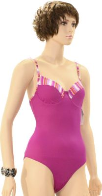 eleMar Trend Damen Bademode Badeanzüge Badeanzug Schwimmanzug Sommer Neckholder Elemar Badeanzug ´´Jessica´´ mit Bügel lila/bunt Gr.38