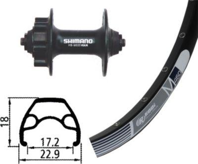 Vorderrad 26´´ Rodi M-460 Disc gespeicht 32 Loch, Nabe Shimano Alivio Disc 6-Loch, schwarz (1 Stück)