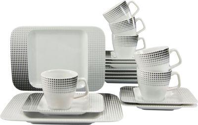 CreaTable 17042 Kaffeeservice Smart, für 6 Personen, Porzellan (1 Set, 18-teilig)