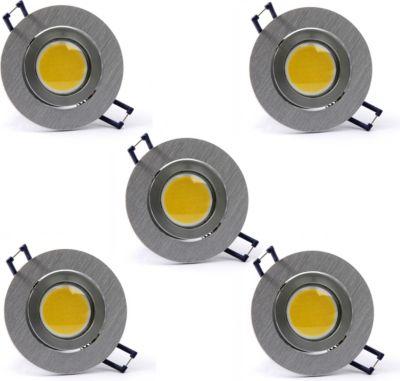 5 Stück H+H COB-SMD-LED Edelstahl-Einbauleuchte, 4 W, Naturweiß
