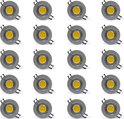 20 Stück H+H COB-SMD-LED Edelstahl-Einbauleuchte, 4 W, Naturweiß