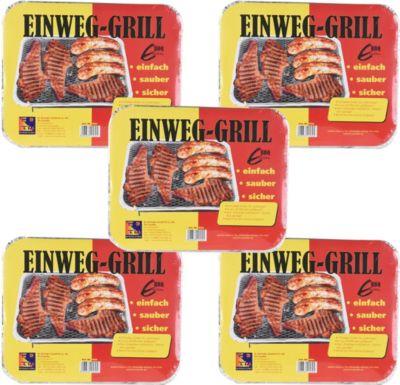 5 Stück Einweg Grill mit Holzkohle