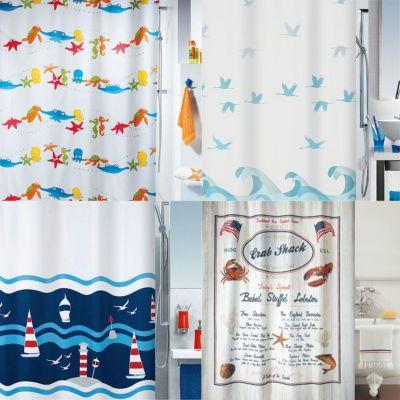 Spirella Duschvorhang Textil Meer, vers. Designs Farbe: Deep Sea acqua, 180x180cm