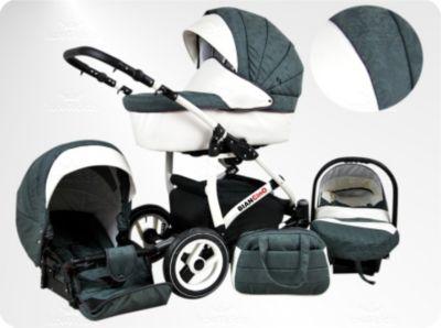 Lux4Kids BIANCinO Kinderwagen Sommer Komplettset Sommer-Set (Sonnenschirm, Autositz & Adapter, Regen