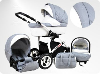 Lux4Kids BIANCinO Kinderwagen Winter Komplettset Winter-Set (Winterfußsack, Autositz & Adapter, Rege