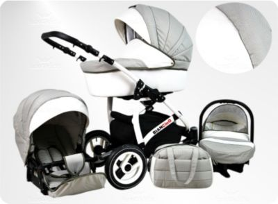 Lux4Kids BIANCinO Kinderwagen Ganzjahres Set Ganzjahres-Set (Winterfußsack, Sonnenschirm, Autositz &