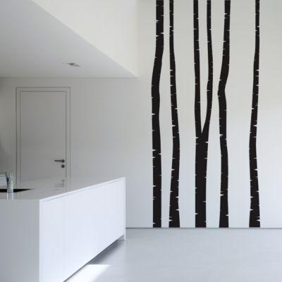 Wandtattoo Baum - 5 Wandtattoo Birkenstämme - Wandsticker Birke Set in 19... Grün, 200cm x 75cm