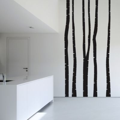 Wandtattoo Baum - 5 Wandtattoo Birkenstämme - Wandsticker Birke Set in 19... Grün, 327cm x 122cm