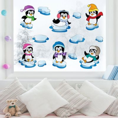 Fensterfolie - Fenstersticker - Pinguin Winter... 100cm x 100cm