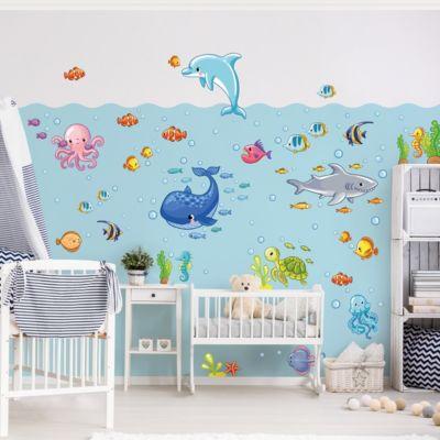 Wandtattoo Kinderzimmer Unterwasserwelt - Fisch... 60cm x 90cm