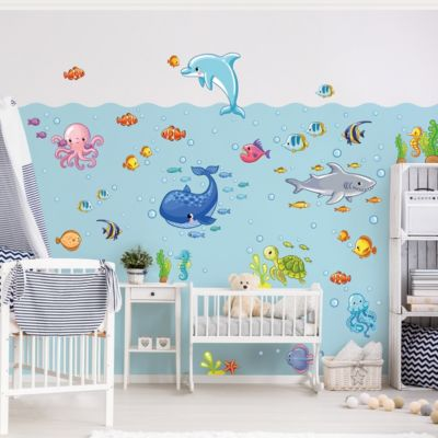 Wandtattoo Kinderzimmer Unterwasserwelt - Fisch... 80cm x 120cm