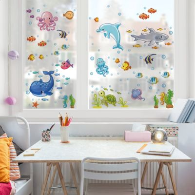 Fensterfolie - Fenstersticker - Unterwasserwelt - Fisch... 80cm x 120cm