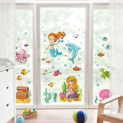 Fensterfolie - Fenstersticker - Meerjungfrau - Unterwasserwelt Set 30x45-0.00