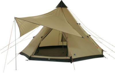 10T Campingzelt Shoshone 400 wasserdichtes XXL Tipi Zelt 4 - 8 Mann Indianerzelt Ø 4m + Sonnensegel