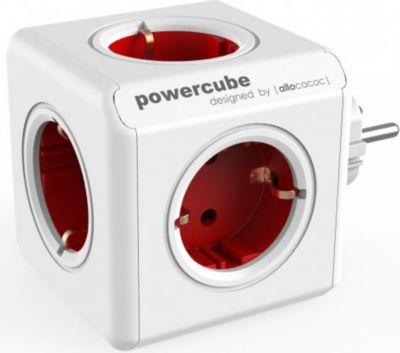 allocacoc PowerCube Original Rot, Reiseadapter &amp 5x Steckdose und Verteiler, 230V Schuko, Weiß Ro