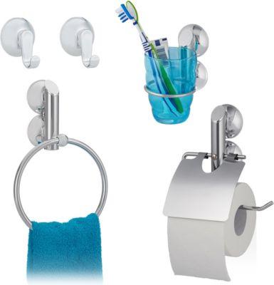 relaxdays 4 tlg. Badgarnitur Set Wandhaken Saugnapf Handtuchhalter Toilettenpapierhalter