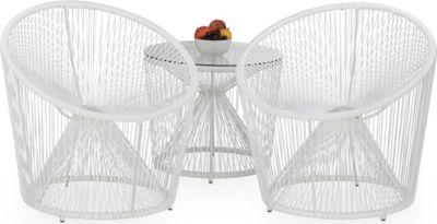 relaxdays 3tlg. Gartensitzgruppe RAYA Deluxe Glastisch rund Gartentisch Gartenstuhl weiß