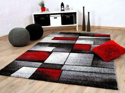 Designer Teppich Brilliant Rot Grau... 140x200 cm