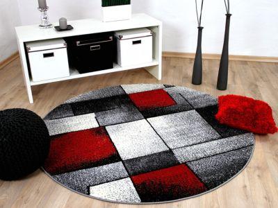 Designer Teppich Brilliant Rot Grau Fantasy... 120 cm Rund