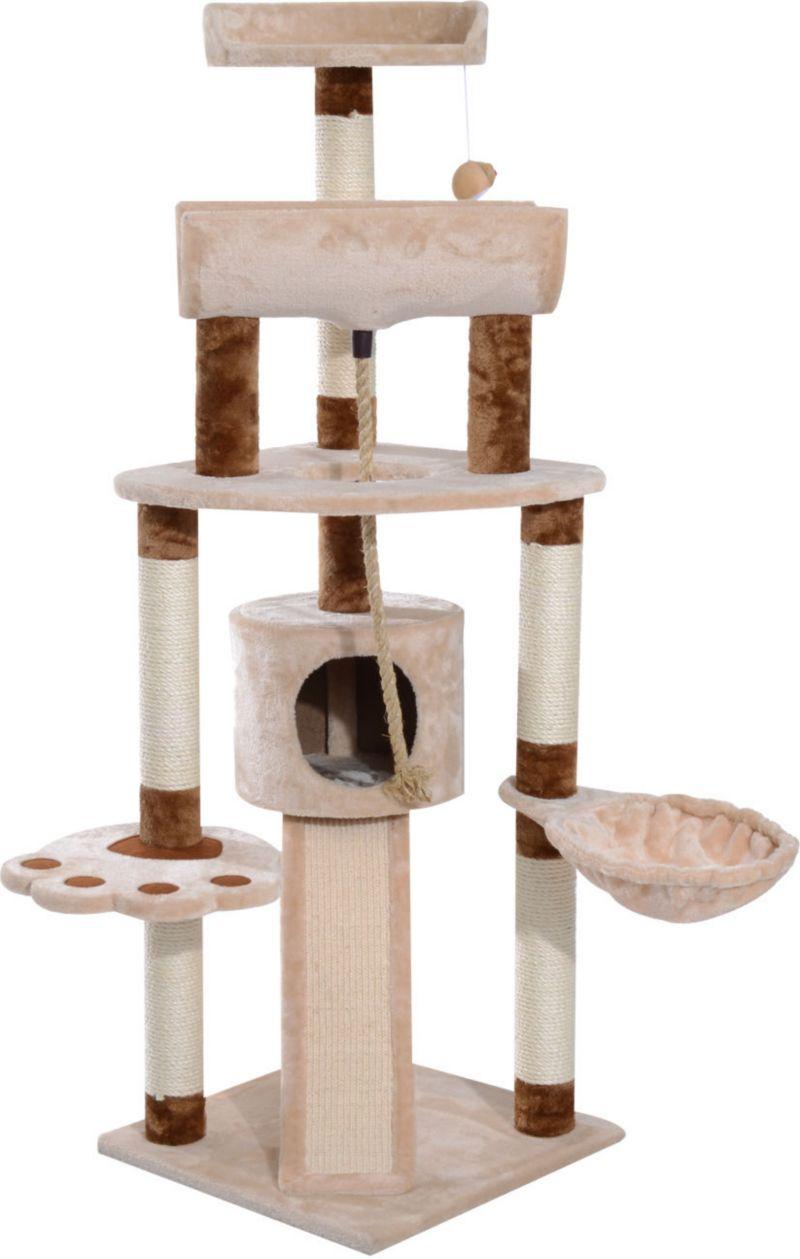 PawHut Katzen Kletterbaum mit Spielseil und Mäu...