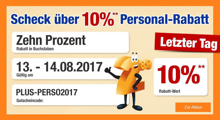 10 Prozent Personal-Rabatt bei Plus.de