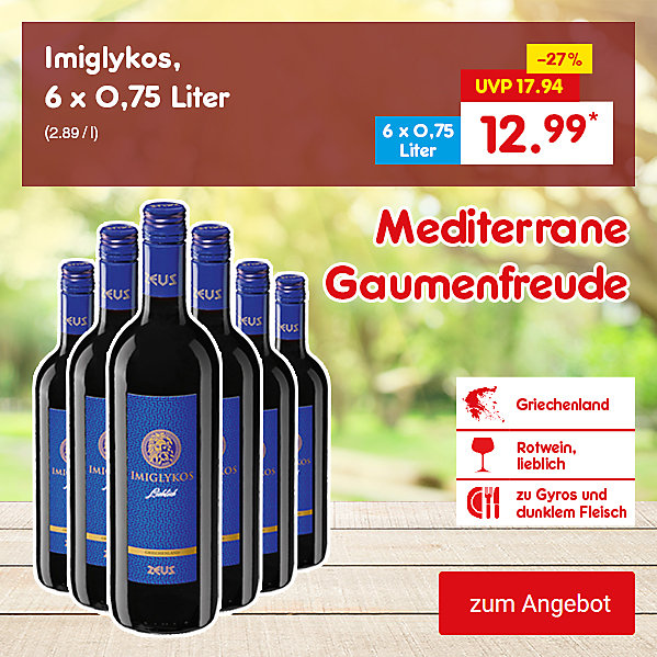 Imiglykos, 6 x 0,75 Liter (2.89 / l), für nur 12.99 €*