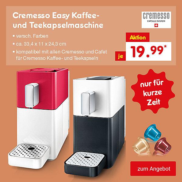 Cremesso Easy Kaffee- und Teekapselmaschine, in verschiedenen Farben, je nur 19.99*