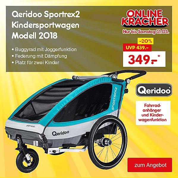 Onlinekracher - Qeridoo Sportrex2 Fahrradanhänger Modell 2018 für nur 349.– €*