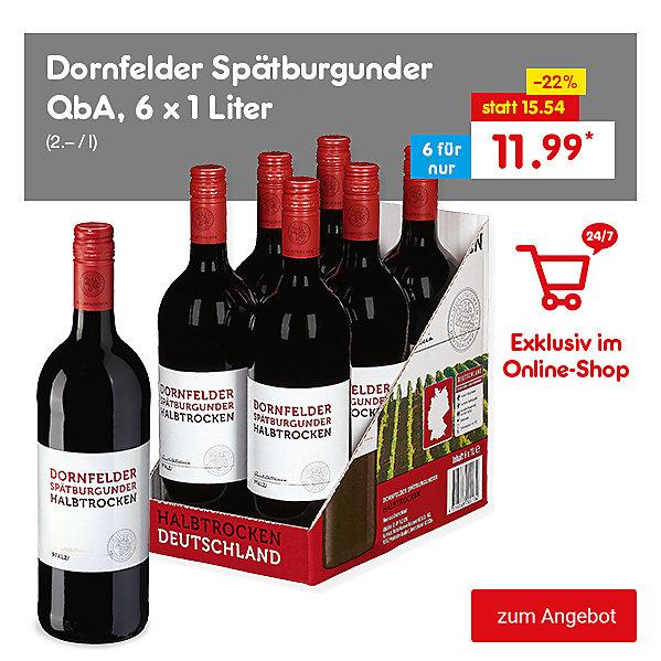 Exklusiv im Online Shop - Dornfelder Spätburgunder QbA, 6 x 1 Liter, für nur 11.99 €*