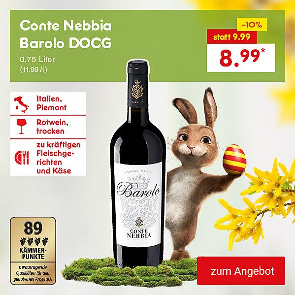 Conte Nebbia Barolo DOCG, 0,75 Liter (11.99 / l), für nur 8.99 €*