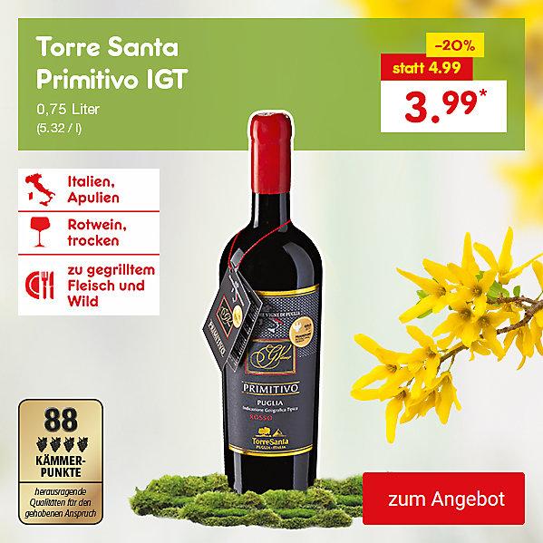 Torre Santa Primitivo IGT, 0,75 Liter (5.32 / l), für nur 3.99 €*