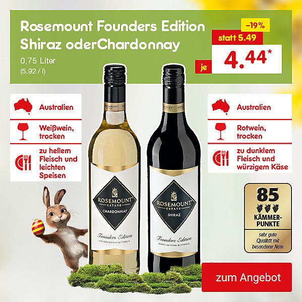 Rosemount Founders Edition Chardonnay oder Shiraz, je 0,75 Liter (5.92 / l), für je nur 4.44 €*