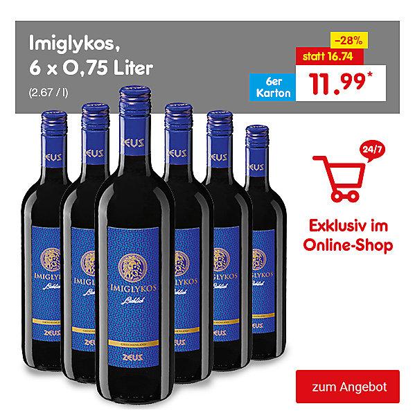 Exklusiv im Online-Shop - Imiglykos, 6 x 0,75 Liter (2.67 / l), für nur 11.99 €*