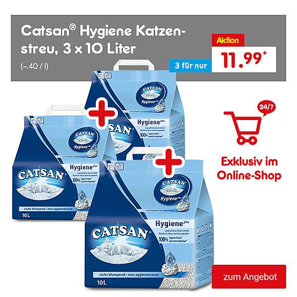 Exklusiv im Online Shop - Catsan® Hygiene Katzenstreu, 3 x 10 Liter für nur 11.99 €*