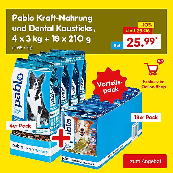 Exklusiv im Online Shop - Pablo Kraft-Nahrung und Dental Kausticks, 4 x 3 kg + 18 x 210 g, für nur 25.99 €*
