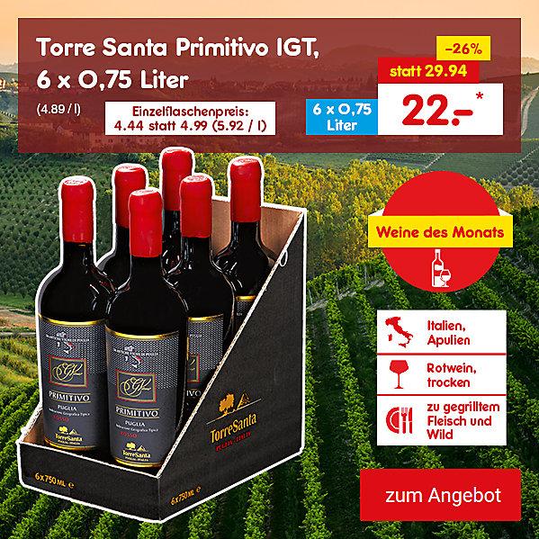 Grande Vitae Primitivo IGT - 6er Karton, 6 x 0,75 Liter (4.89 / l), nur 22.- €*